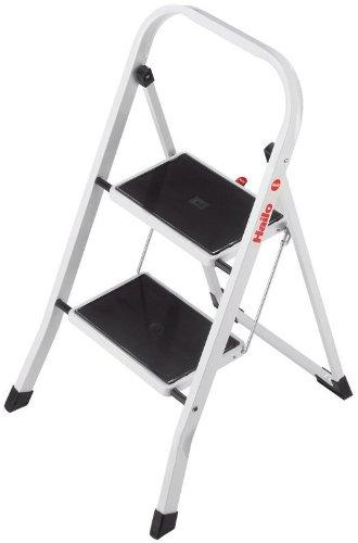 Hailo K40 BasicLine Stahl-Trittleiter, 2 Stufen, Sicherheitsbügel, Klappsicherung, einfach zu verstauen, belastbar bis 150 kg, silber, 4396-901