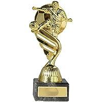 Trofeo futbol futbolista oro o plata con balón