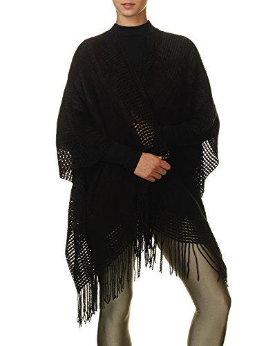 Sublevel Women's Cape Knit Women's Black Knit Poncho Cardigan Acrylic Black
