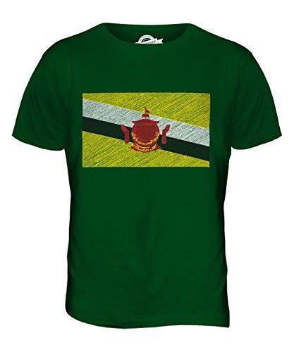 CandyMix Brunei Kritzelte Flagge Herren T Shirt Flaschengrün