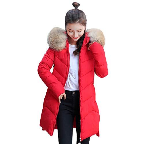 TWBB Damen Winterjacke Einfarbig Warme Lange Daunenjacke Wintermantel Outwear Steppjacke mit Pelzkragen Kapuzenpullover Daunenjacke Zusammenklappbar Warm mit Reißverschluss Jacke,M-3XL