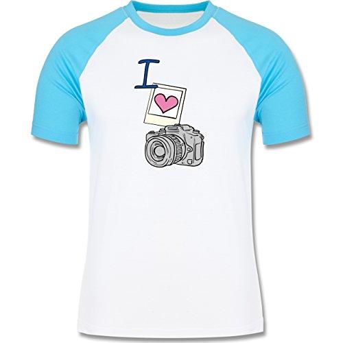 I love - I love photography - zweifarbiges Baseballshirt für Männer Weiß/Türkis