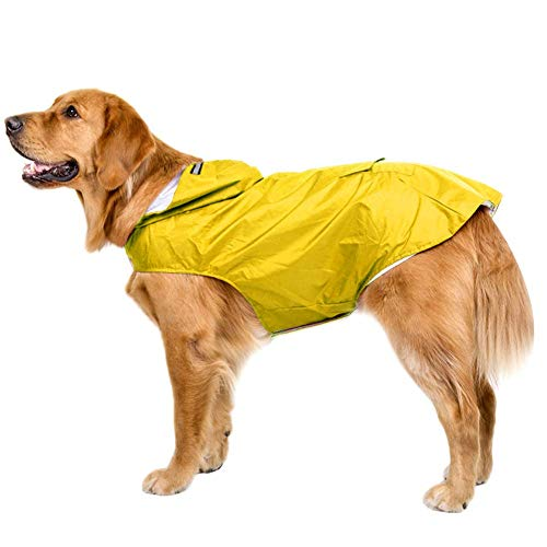 Bwiv Hunde Regenmantel Wasserdicht Hundemantel Groß Gefüttert Ultraleichte Atmungsaktive Hundejacke Reflexstreifen Regenjacke Hunde Mit Kapuze 3XL-6XL Gelb 4XL