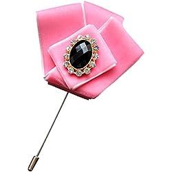 Hochwertiger Samt Streifen M?nner Taschen Tuch Anzug u. Hemd Brosche Kragen Pin Rosa