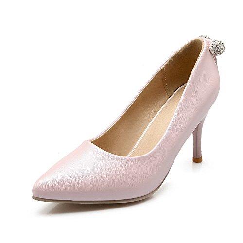 AllhqFashion Damen Hoher Absatz Weiches Material Rein Ziehen Auf Spitz Zehe  Pumps Schuhe Pink