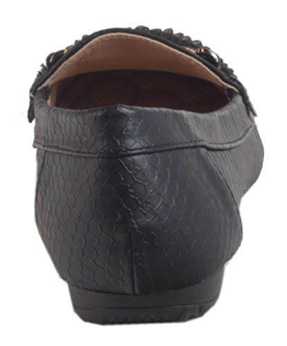 Villalba-mocassins femme en cuir synthétique avec grain metallBand fine et 37 36 38 39 40 41 Noir - Noir