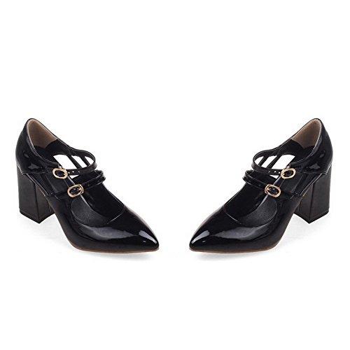 VogueZone009 Femme Boucle à Talon Haut Pu Cuir Couleur Unie Pointu Chaussures Légeres Noir