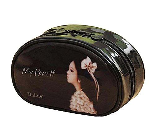 Classique Durable Semirigide Maquillage Case Cosmetic Bag Pour Femmes Filles, Noir