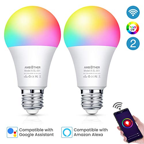 AMBOTHER Smart WiFi Lampen E27 LED Smart Wlan Glühbirnen RGBCW Dimmbar Timing & Fernbedienung via APP & Sprachsteuerung Kompatibel mit Google Home,Amazon Alexa LED Smart Home Licht 9W/800LM -2er Pack