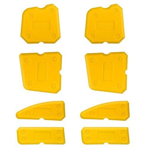 8 Stücke Werkzeug Schaber Kit Dichtungsmittelentferner Fugenglätter Set für Badezimmer Küche Silikon Fugenmörtel Raum und Rahmen, Gelb