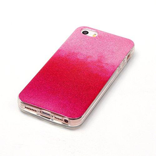 OuDu Etui en Silicone pour iPhone 5/5S/SE Housse de Dégradé de Couleur avec Poudre de Paillettes Coque TPU Silicone Caoutchouc Housse Souple de Protection Etui Flexible Lisse Housse Ultra Mince Coque  Rouge Pâle