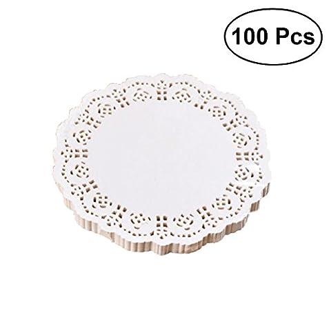OUNONA 100pcs jetables absorbant l'huile blanche dentelle papier napperons boîte à gâteaux liner emballage papier pad 6,5 pouces