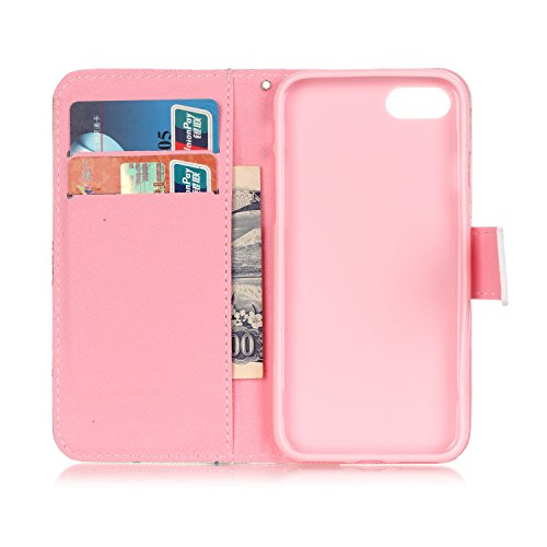 iPhone 7 Hülle,iPhone 7 Ledertasche Handyhülle Brieftasche im BookStyle,SainCat PU Leder Hülle Wallet Case Folio Schutzhülle Karikatur Muster [Pink Butterfly] Lederhülle Scratch Bumper Handytasche Bac Rosen