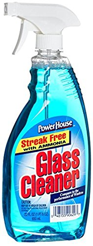 A USA Made Product PowerHouse® Glass Cleaner, Streak Free with AMMONIA, 650 mL (2)