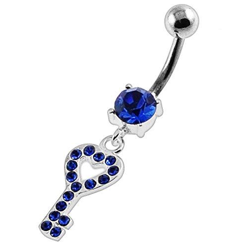 Fantaisie coeur clé pendantes Design 925 Sterling Silver avec acier inox Belly Bleu foncé