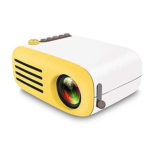 TianranRT YG200 Projektor Mini Portable Heim Theater 1080P USB AV HDMI Voll HD LED Beamer (Gelb)