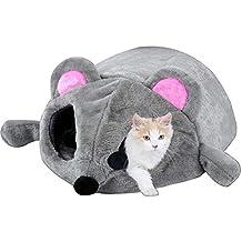 Skyoo Cama de ratón Gris para Gato pequeño Perro Cueva Cama con Alfombrilla extraíble, Antideslizante