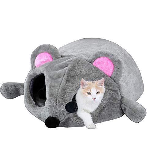 Skyoo Cama de ratón Gris para Gato pequeño Perro Cueva Cama con Alfombrilla extraíble, Antideslizante, 50 x 40 x 21 cm