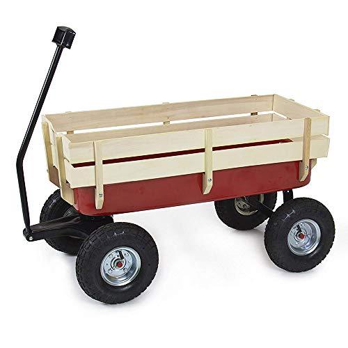 Holz-Lastwagen Rot/Holz Geländer Garten Wagen