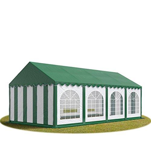 TOOLPORT Tente Barnum de Réception 4x8 m Premium Bâches Amovibles PVC 500 g/m² Vert-Blanc + Cadre de Sol Jardin INTENT24