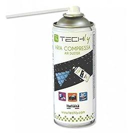 Techly 021666 Bomboletta Aria Compressa Spray di Pulizia 400ml Trasparente