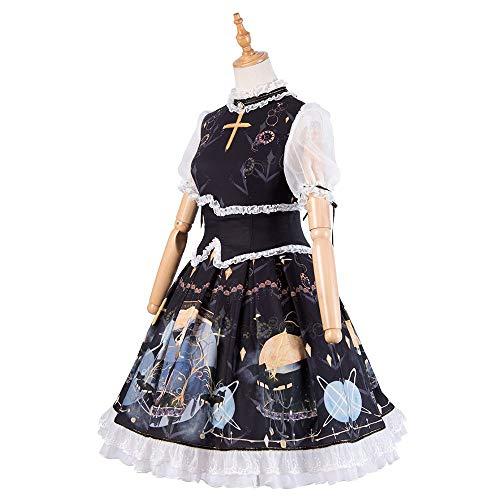 QAQBDBCKL Prinzessin Viktorianischen Kleid Halloween Casual Cosplay Lolita Hemd Schwarz Kleid Gothic Kleid
