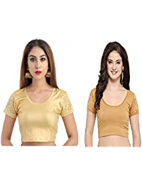 Fressia Fabrics Women's Cotton Lycra Stretchable Readymade Saree blouse Free Size Pack of 2
