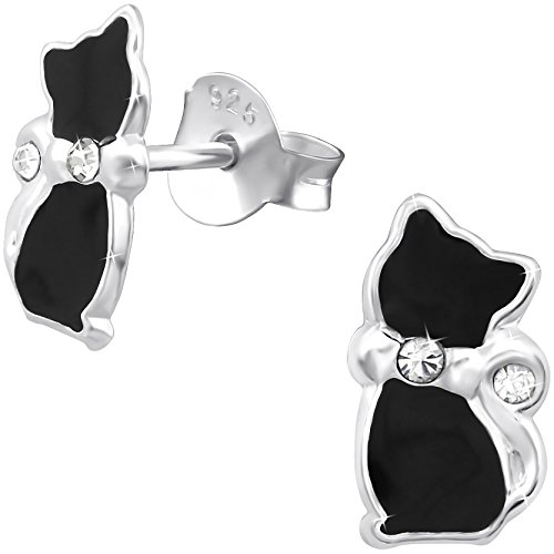 JAYARE Schwarzer Kater Kinder Ohrstecker 925 Sterling Silber Glitzer-Kristalle Emaille schwarz 10 x 5 mm Mädchen Katzen Ohrringe Kinderschmuck