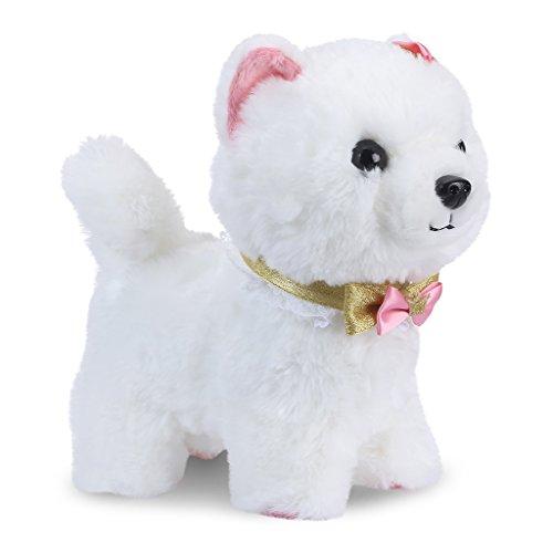 Shinehalo Hablar Caminar ladrido Perro Perrito de Juguete para Mascotas Perro de Peluche eléctrico Dog Juguetes interactivos con Remote Control Leash, Juguete de Regalo para niños pequeños -Blanco