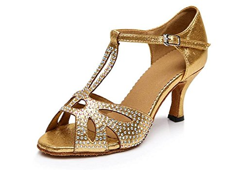 JSHOE Cristaux T-strap Pour Femmes Sparking Satin Latin Salsa Chaussures De Danse / Tango / Chacha / Samba / Moderne / Chaussures De Jazz Sandales Talons Hauts