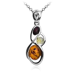 Collier avec pendentif en ambre multicolore et argent sterling, 46 cm