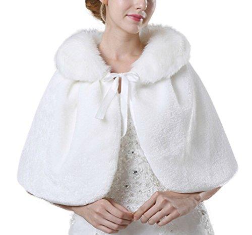 Icegrey Chaqueta de Pelo Sintético Con Cuello para Mujer Chal Estola Capa Para Fiesta Bodas Invierno Novia Boleros Blanco