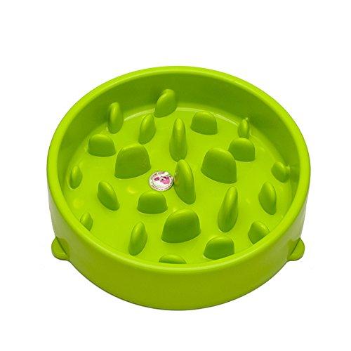 Anti-Schling Hundenapf Katzennapf, Top_Elec Interaktive Futterschüssel, Slow Feeder Napf Fressnapf für Haustiere, Langsame Reisenäpfe, Grün