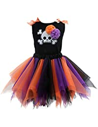 Sronjn ragazze vestono Girls Halloween stampate senza maniche Vest gonna colore set Casual