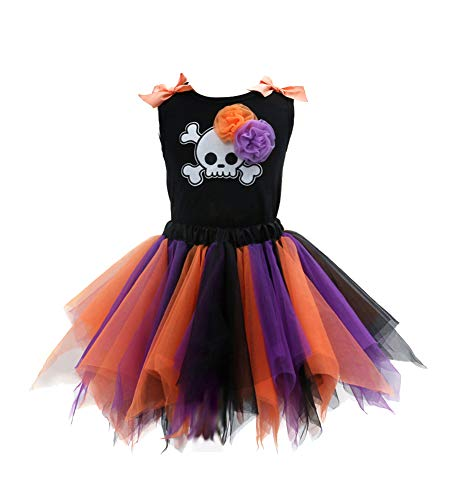 Sronjn Mädchen Ärmellos Kinder Kleid Halloween Karneval Kostüm festlich Partykleid Cosplay Kostüme Kleidung Festzug Stil 2 2XL (Regenbogen Monster Kostüme)