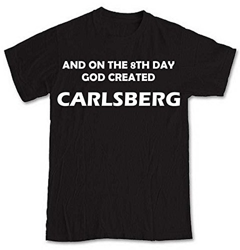 and-on-the-8th-day-god-created-carlsberg-black-short-sleeve-t-shirt-from-our-unique-t-shirt-range-an