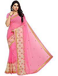 Pisara Women Chiffon Saree With Blouse Piece ,Pink & Off White Sari