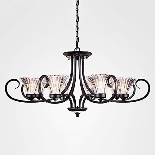 Öl Eingerieben Bronze Licht 6 (Liunce Zeitgenössische 3-6-8-Lichter Große Kronleuchter Öl eingerieben Bronze Moderne Leuchten Hängende Glasschirme Pendelleuchten für Esszimmer Wohnzimmer Küche E14 (Color : 8-Lights))