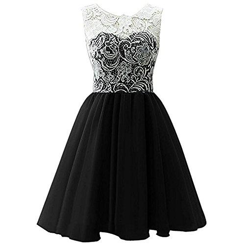 ZAMME Mädchen Kurz Tulle Prom Lace Kleid Brautjungfer Heimkehr Ball Ball (Alte Mode-prom Kleider)