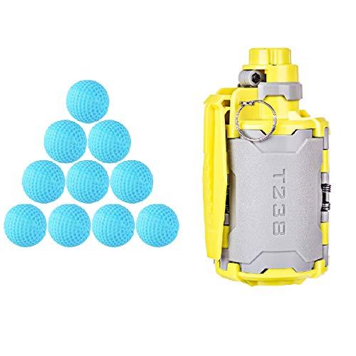 GUOGUO Water Bullet Bomb + 10er Runden Soft Bullet Handgranate Wasserperlen Spielzeug Neuestes aktualisiertes zeitverzögerter Funktion Design CS Nerf Spiele Airsoft Paintball Granate