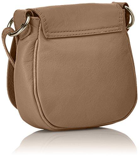 CTM Pochette a spalla da donna, borsetta in vera pelle made in Italy - 19x17x6 Cm Fango
