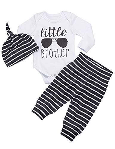 Neugeborenes Baby Kleidung Little Brother 3pcs Outfits Strampler Hut Hosen Herbst Winter Sonnenbrille Print Stripes Sets