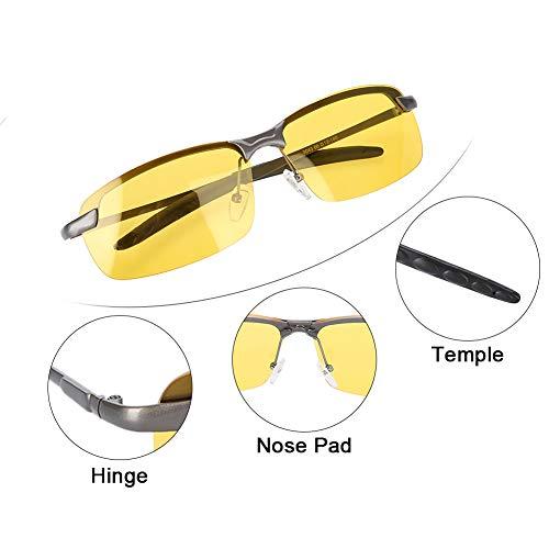 Marco de Metal Ajustable Gafas de conducci/ón Nocturna HD polarizadas Gafas antideslumbrantes de Seguridad Unisex Gafas de conducci/ón Nocturna
