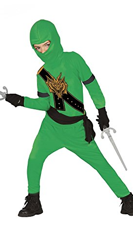 Ninja Kostüm Kinder grün mit Dragon-Print Halloween Karneval – Ninja Kostüme für Kinder grün Jungen (Ninja Halloween)