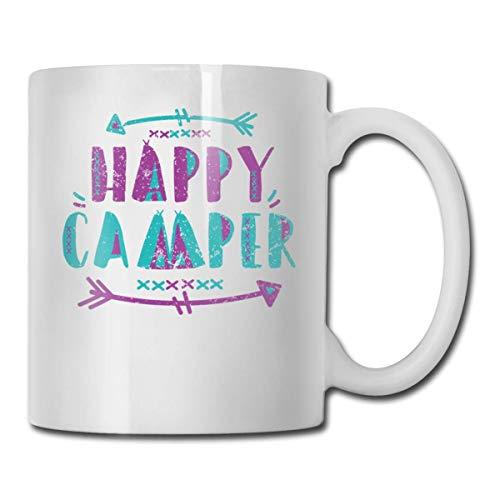 Daawqee Becher Coffee Mug 11oz Funny Cup Milk Juice Or Tea Cup Happy Camper Birthday - Camper Happy Becher