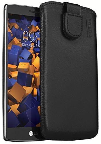 mumbi ECHT Ledertasche LG G4s Tasche Leder Etui schwarz (Lasche mit Rückzugfunktion Ausziehhilfe)