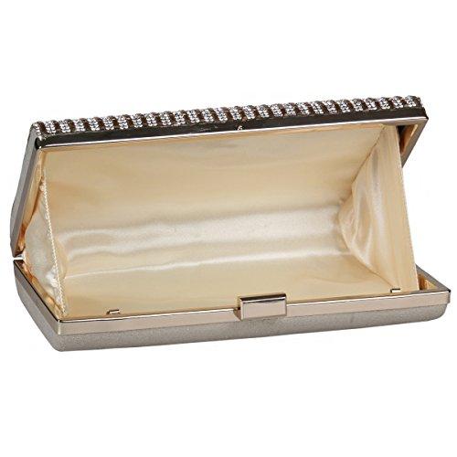 Damara® Streifen Kristalle Damen Glamourös Clutch Handtaschen Silber