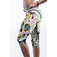 Nuovo donna teschio colorato stampa Crop Leggings pantaloni capri Fancy vestito casual Club wear taglia unica per 10–12