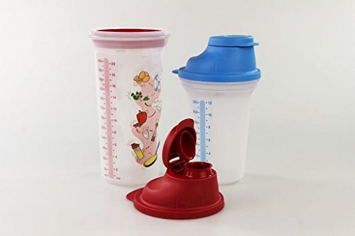 TUPPERWARE Backen Mix-Fix Shaker 600 ml rot + Mix-Fix klein 350 ml blau 16897