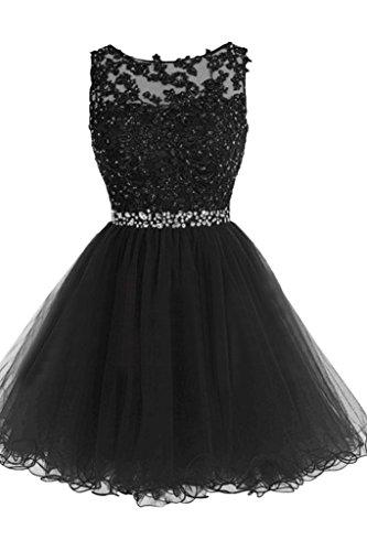 ivyd ressing robe Sweetheart col rond dentelle Mini Party Prom robe a ligne fixe robe robe du soir Schwarz